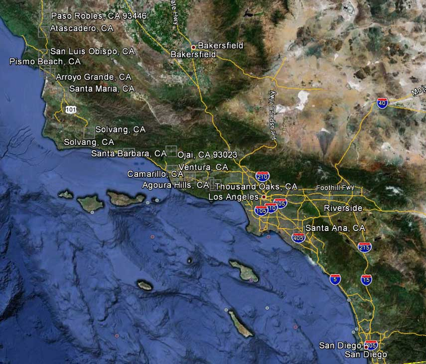 Southern California to CentralCoast Areas