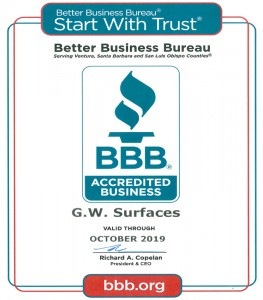 Accredited Business with the Better Business Bureau, GW Surfaces